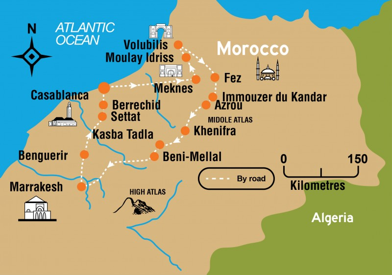 Imperial cities map, morocco